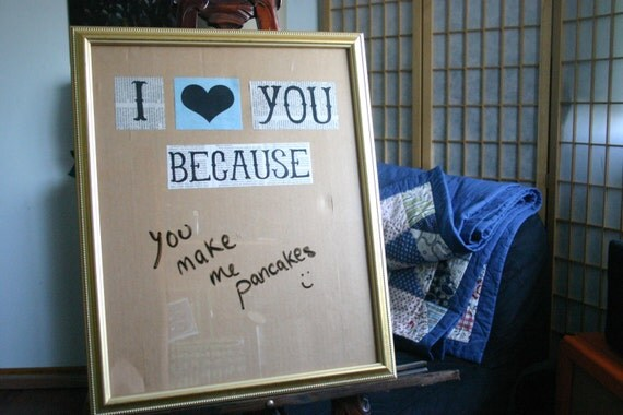 I Love You Because Dry Erase Message Board, BASIC FRAME, Valentine's Day, Anniversary Gift for Him Her, Paper Anniversary