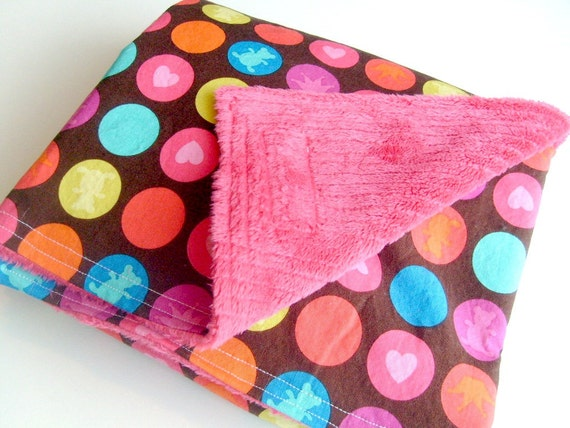 Girl Minky Baby Blanket Pink & Brown Minky Crib or Stroller Blanket - Large