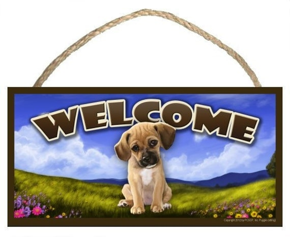 "Puggle (sitting) Spring Season 10"" x 5"" Welcome Sign"