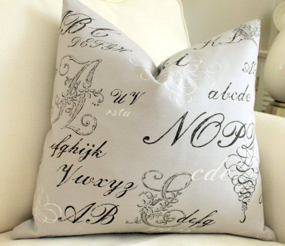Linen Cotton 20 x 20 Pillow Cover P. Kaufmann Flax Script Print