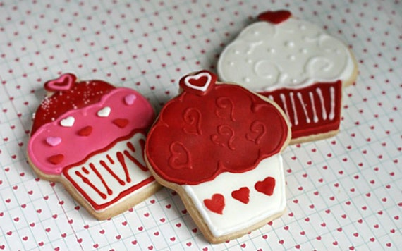 "Large Homemade Vanilla ""Valentine's Day"" Cupcake Sugar Cookies (1 Dozen)"