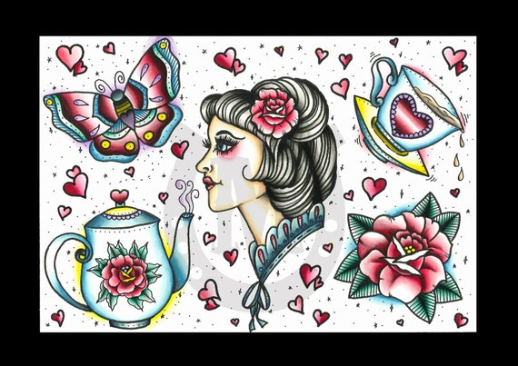 Lady Tattoo Flash - Print