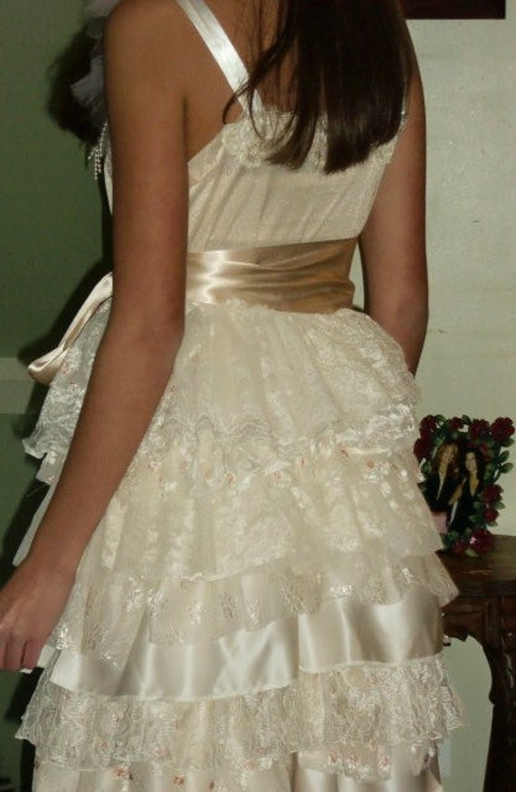 Ivory Bridal Gown Wedding Dress Upcycled Slip Dress for Prom Bride or
