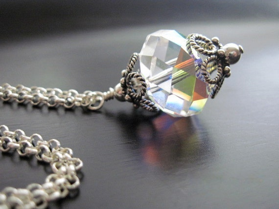 Swarovski Crystal Necklace Wire Wrapped Sterling Silver Rolo Chain