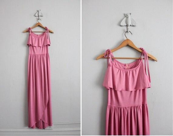 1970s vintage pink jersey maxi dress