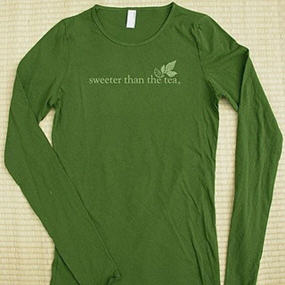 sweeter than the tea olive green woman's long sleeve shirt