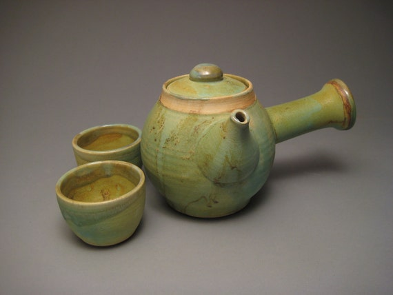 Japanese Style Tea Set for Two with Green Copper Glaze