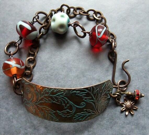 Handmade Bracelet, Metal and Lampwork Bracelet, Metal Bracelet,Bead Bracelet,Glass Bracelet