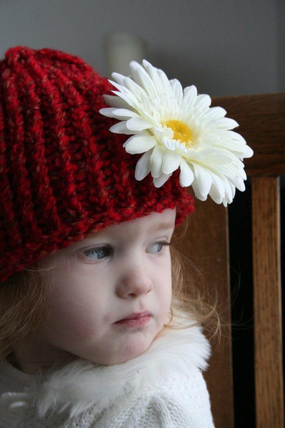 ختمی قرمز کودک نو پا به اندازه بالش با کلیپ گل های سفید قابل جابجایی