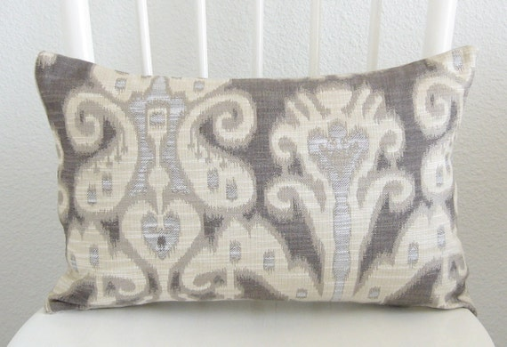 Decorative pillow cover - Lumbar pillow - Ikat pillow - 12x18 - Ivory - Gray - Dark gray  - Designer fabric - Ships Within 24 hrs