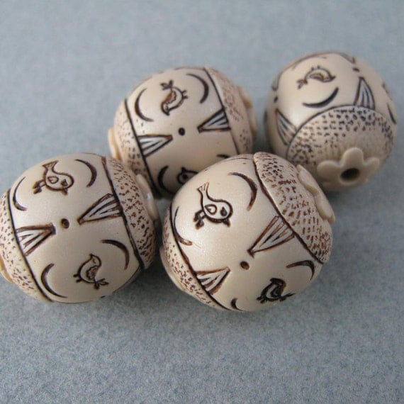 Polymer Clay Faux Ivory Bird Beads Set of Four