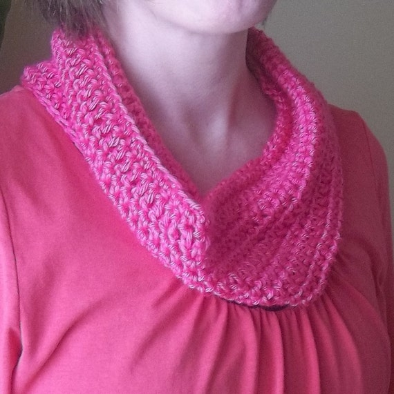 Crochet Cowl Infinity Scarf Pink