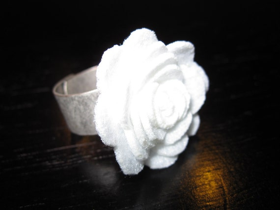 White Flower Petal Ring