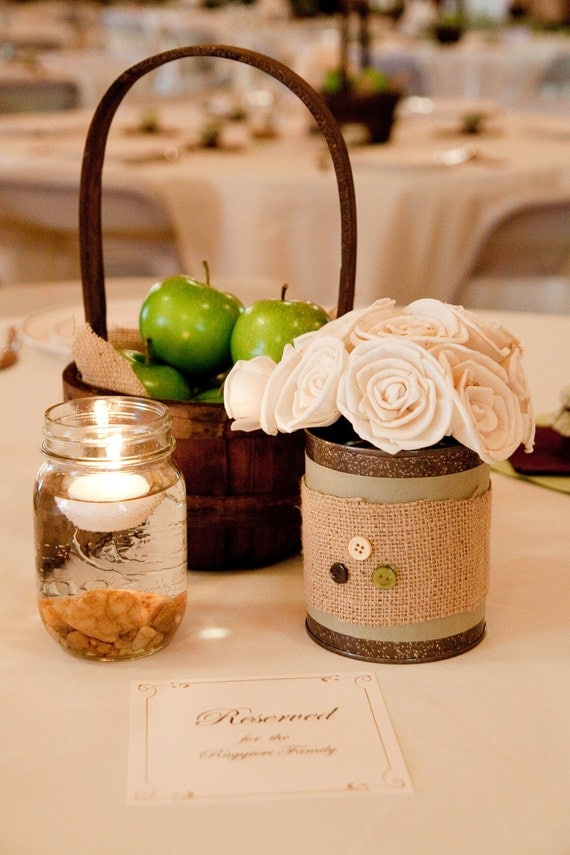 5 Mason Jar Tealight Floating Candle with rustic pebble rocks  Wedding Decoration for the Rustic or Country Wedding