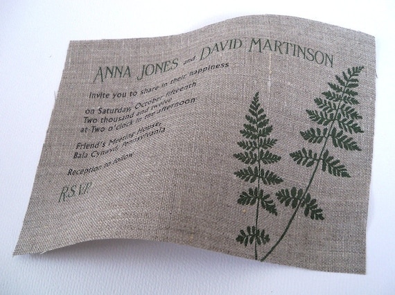 Fern leaves fabric wedding invitation with small inserts, 110- reserved