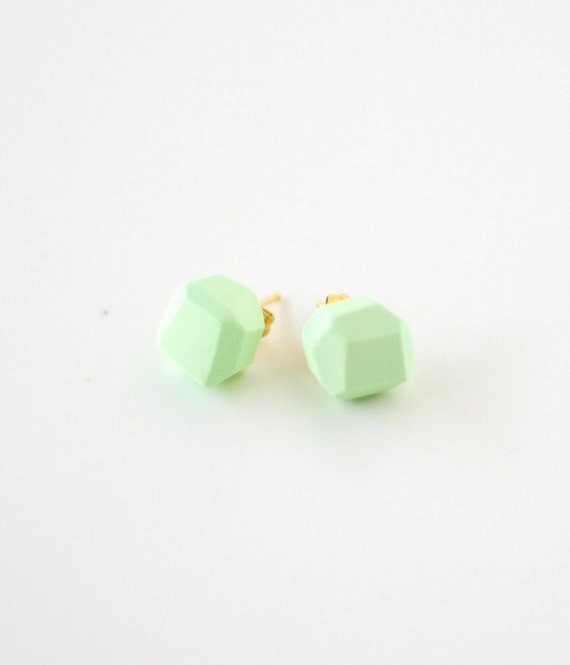 mint geo earrings