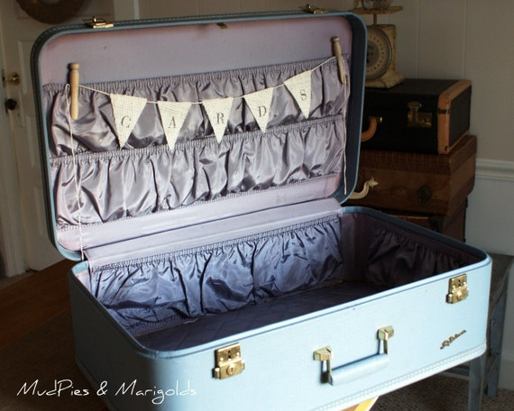 Vintage Suitcase Wedding Card Box, sky blue, burlap bunting, card banner
