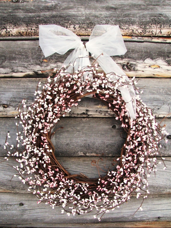 Soft Pink & Vintage White Spring Wreath-Easter Wreath-Rustic Weddings -Shabby Chic--Spring Weddings- Scented Vanilla Sugar