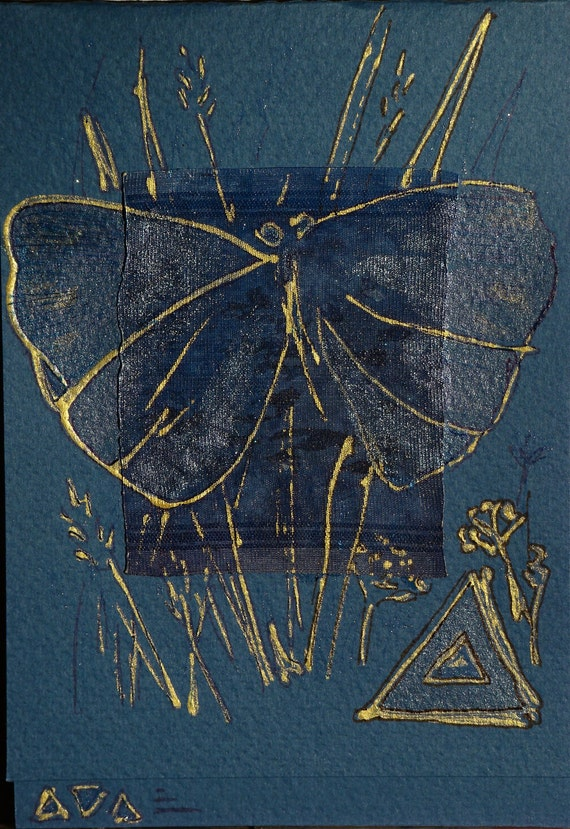 Dark blue Butterfly and gold grass - blank greeting card for any occasion