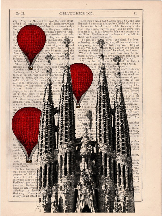 Vintage Book Print - Barcelona Sagrada Familia Balloon Ride Print on Vintage Book art Gaudi Holy Family