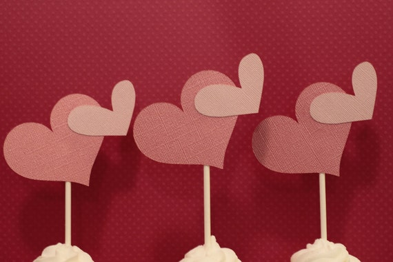 2 Pink Hearts Valentines Day Cupcake Toppers