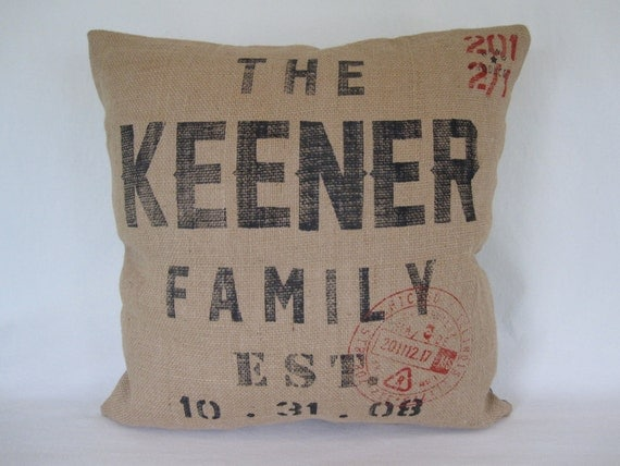 Custom Made Pillow-20x20 inch-Custom Print on Burlap-Wedding gift, Anniversary gift, Housewarming gift
