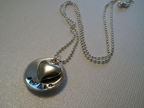 mommy necklace with heart charm. cupped disc. your name of choice. Pretty cursive font. Ball or snake chain option.