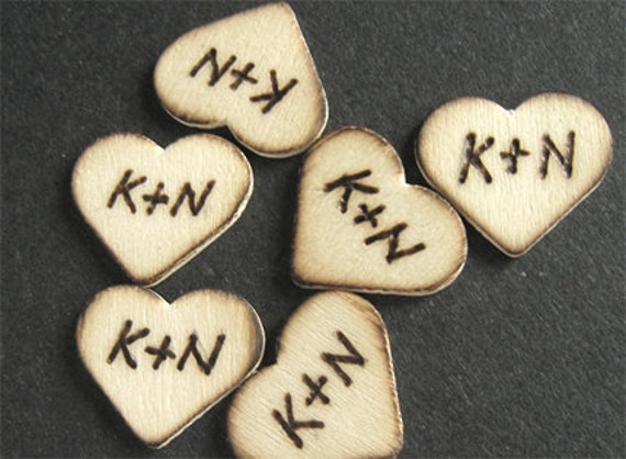 6 Wooden Hearts Custom Engraved Wood Tags Wedding Monogram Personalized