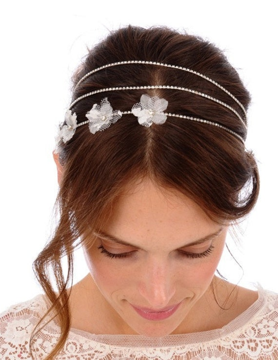 146  - WILLOW Headband -  bridal, comb, rhinestone, crystal, veil, floral, wedding, tiara, head piece