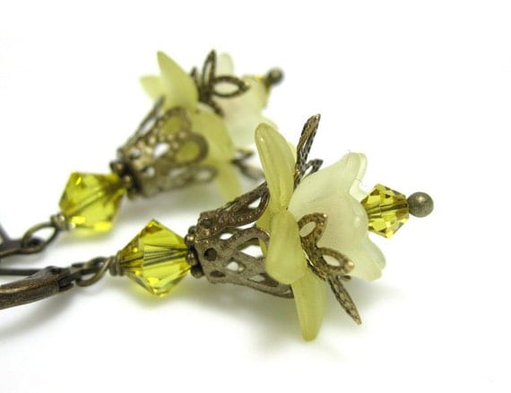 Buttercup Yellow, Fern Green, Flower Earrings, Swarovski, Lucite, Antiqued Brass