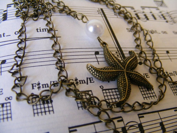 Long Necklace Bronze Starfish and Pearl