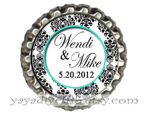 Custom Wedding Save the Date Magnets Tiffany Blue Black and White Damask