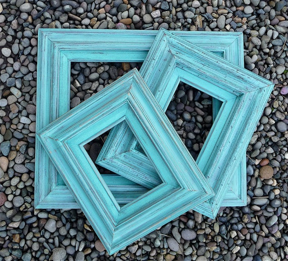 Set of 3 Chunky Teal Shabby Chic Frames