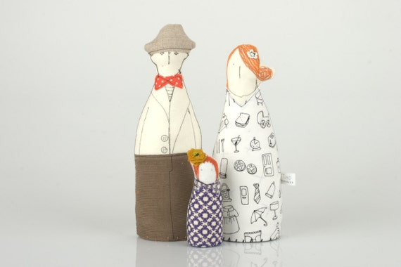 Family - Ginger mother , Wearing hat Father and a little Red Head daughter Dressed in Black , White Orange Brown-  fabric handmade   dolls