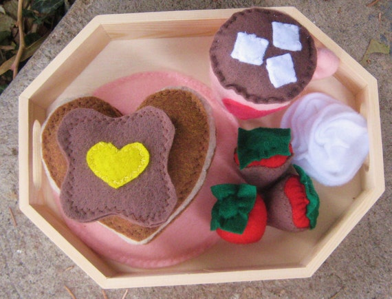 Valentine's Breakfast in Bed Set - Heart shaped pancakes, cocoa, chocolate covered strawberries, handmade felt food