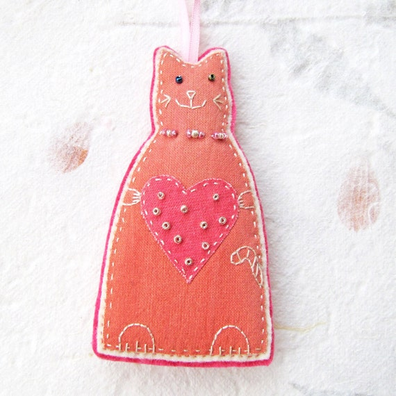 Valentine's gift- Pink Cat with Heart Ornament/ Decoration