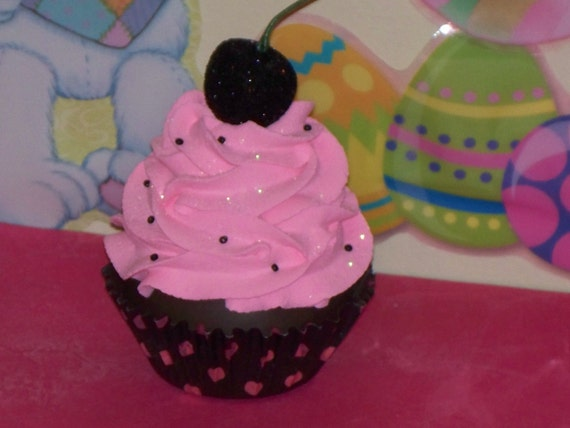 Fun Original Hot Pink and Black Polka Dot Chocolate Fake Cupcake Cherry,  Birthday Party Favor, Decor, Gift, Home, Display Stage Photo Prop