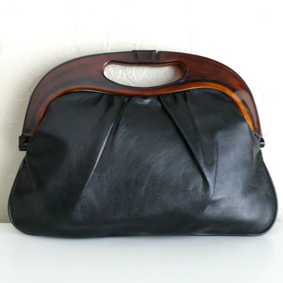 Vintage Black Leather Handbag with Plastic Handle
