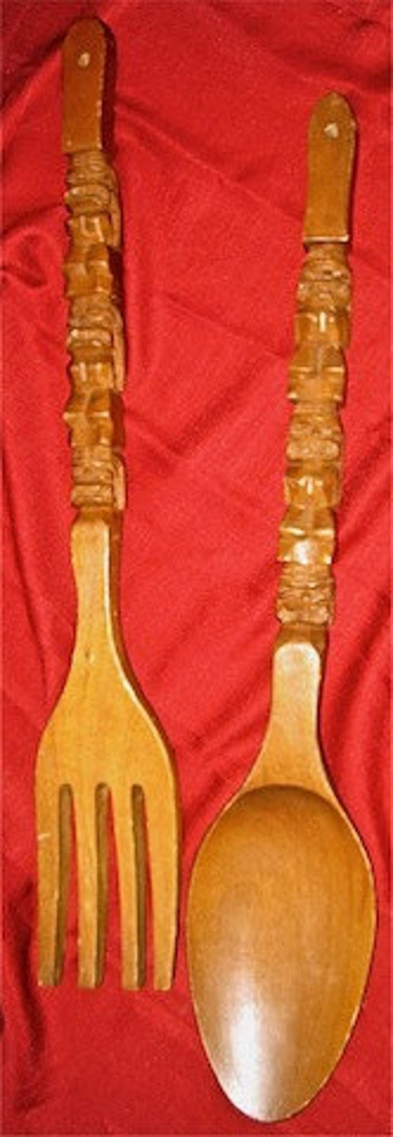 Mid-Century Vintage Hand-Carved Tiki/Totem Wooden Fork & Spoon Wall Decor from Philippines