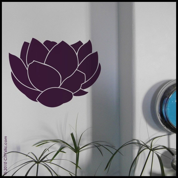 LOTUS  - WALL DECAL : Set of 3 Lotus Flowers opening as in Asia, big petals, zen attitude