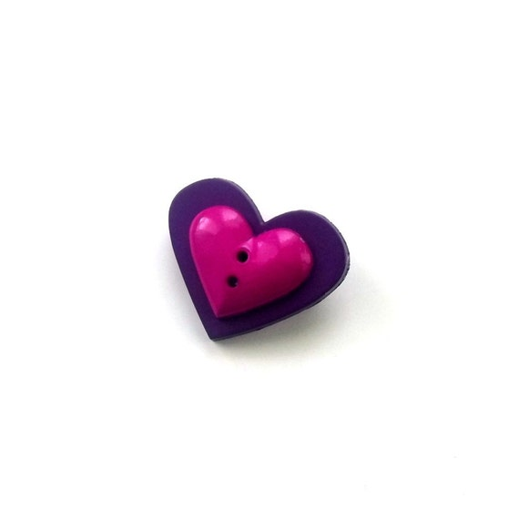 Heart Pin Brooch Button Purple, Magenta