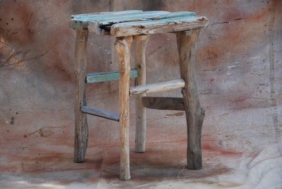 Driftwood side-table/stand - small decorative shabby-chic driftwood wine table/stand - aqua/green and gold detailed driftwood from Maui