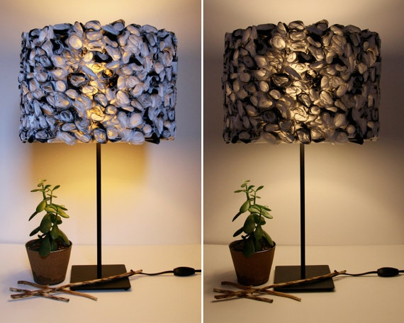 Ruffled Black and White Lamp Shade made from Eco-Friendly Recycled Plastic Bags - Shade ONLY