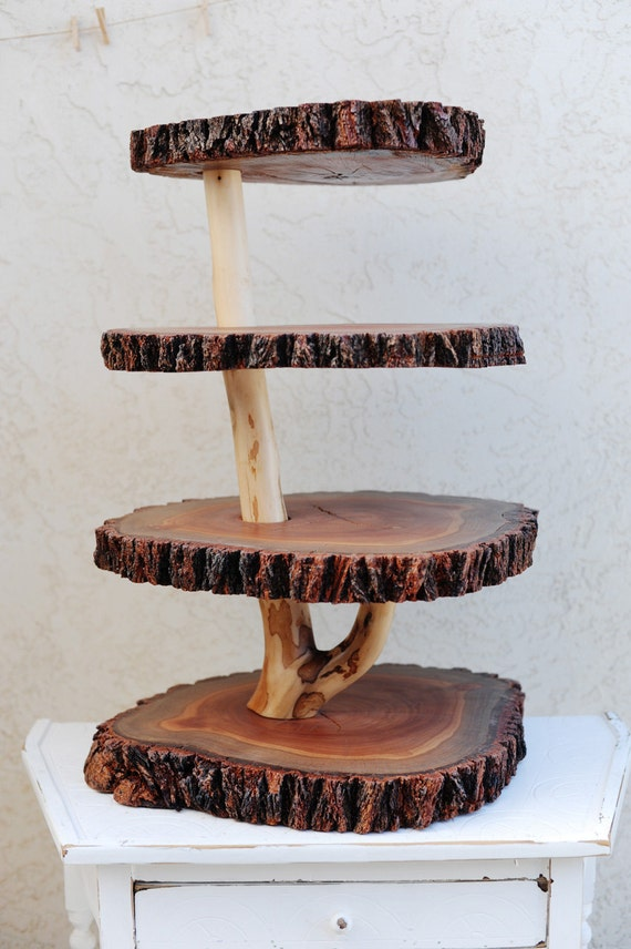 Rustic 4 tiered custom wood tree slice cupcake stand for wedding or party - X-Large Size