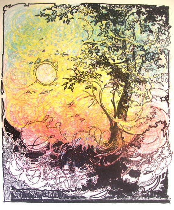 "Original Drawing ""Dreamy Sunset""  Mixed Media on Heavy Paper - Art Nouveau"
