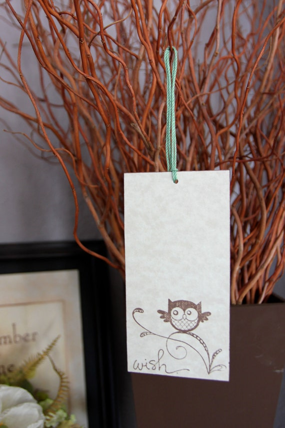 Set of 12 Wishing Tree Tags- Baby Owl With Green String - Baby or Bridal Shower