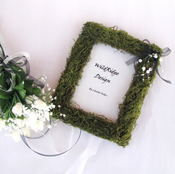 Spring Wedding Frame5x7 Woodland WeddingBLACK WHITE Beaded Mossy Picture