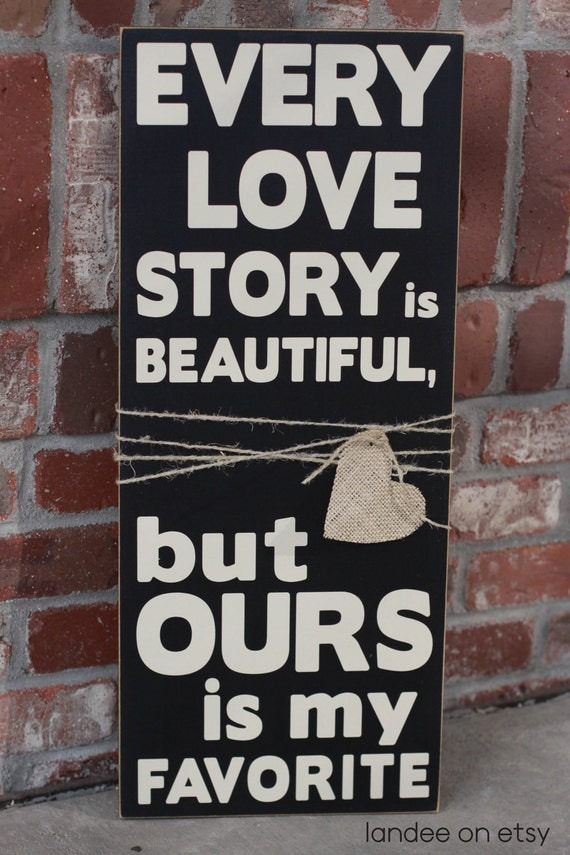 Love Story Wooden Vinyl Sign