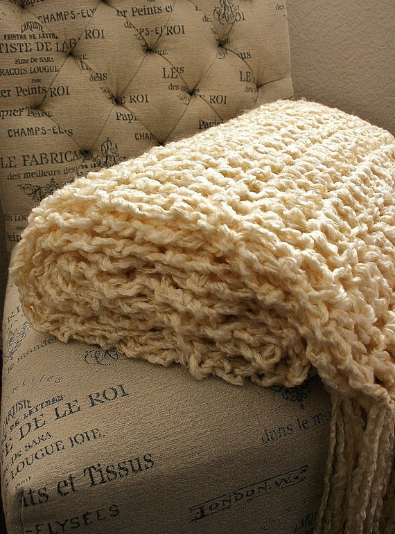 VANILLA HARBOR THROW with Fringe - Soft, fluffy & cozy throw in Creamy Vanilla - Sale - Ready To Ship