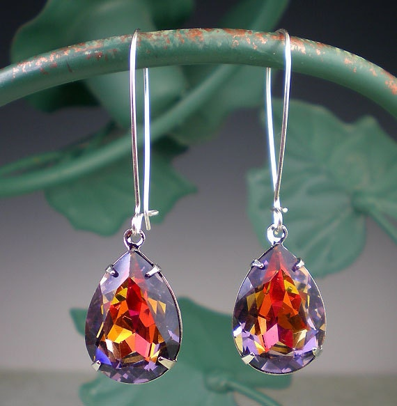 Silver Drop Earrings Violet Orange Red Pink Jewelry Prom Wedding